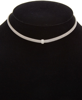 Meshmerise 18K Over Sterling Silver Diamond Choker Mesh Necklace
