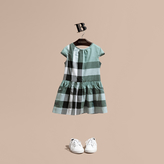 Burberry Cap-sleeved Check Cotton Voile Dress