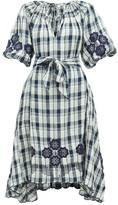 Innika Choo Hugh Jesmock Checked Linen Midi Dress - Womens - Navy Multi