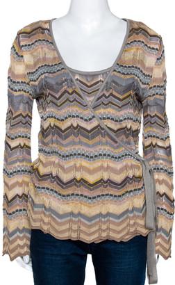 M Missoni Muticolor Wool Blend Chevron Knit Tank Top and Cardigan Set M