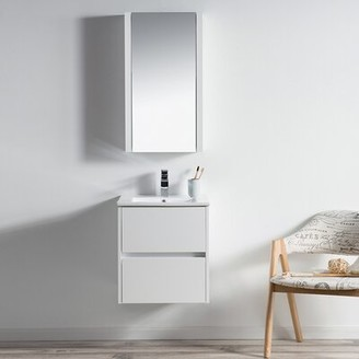 "Orren Ellis Oquendo 20"" Wall Mounted Single Bathroom Vanity Set with Mirror Base Finish: Glossy White"