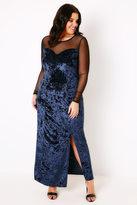 Yours Clothing Black & Blue Sparkle Velvet Maxi Dress With Mesh Sweetheart Neckline