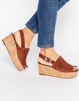 Faith Damage Tan Cork Effect Wedge Sandals