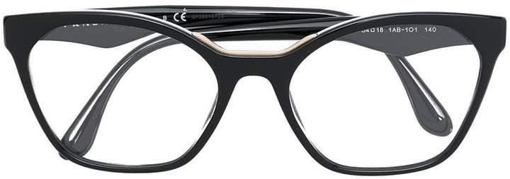 64d5fd54230e Prada(プラダ) ブラック レディース メガネ - ShopStyle(ショップスタイル)
