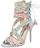 Sophia Webster Adeline Dreamy Crystal Lace-Up Sandal, Pink/Blue