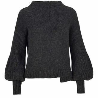 Salanida Puff Sleeve Alpaca Blend Sweater - Black