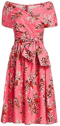 Lela Rose Wildflower-Print Cotton Off-The-Shoulder Cape Dress
