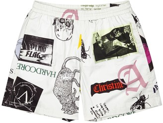 Aries Thrasher Off-white Printed Cotton Shorts