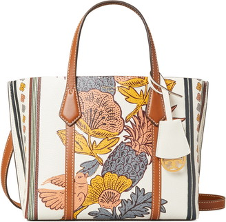 Tory Burch Small Perry Print Leather Tote