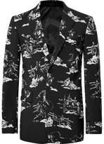 TAKAHIROMIYASHITA TheSoloist. Black Slim-Fit Metal-Tipped Printed Wool-Satin Suit Jacket