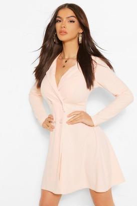 boohoo Button Detail Full Skirt Blazer Dress