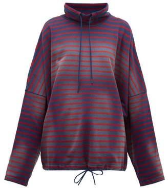 Martine Rose Breton-striped Cotton Sweatshirt - Womens - Navy Multi