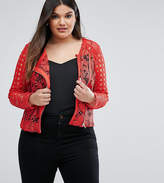 Asos Premium Mixed Lace Panel Jacket In Red