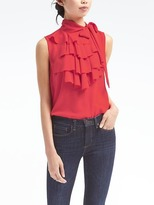 Banana Republic Tie-Neck Ruffle Shell