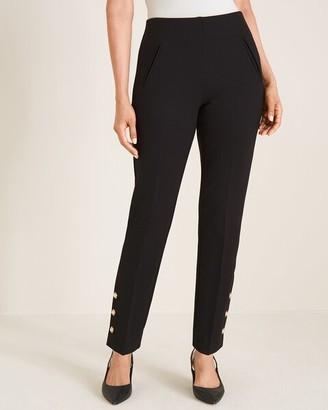 So Slimming Juliet Faux-Pearl Button-Hem Ankle Pants