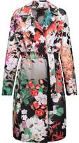 Roberto Cavalli Floral-Print Gabardine Coat