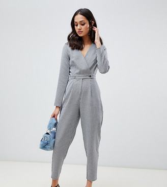 Miss Selfridge jumpsuit with button detail in houndstooth print-Black
