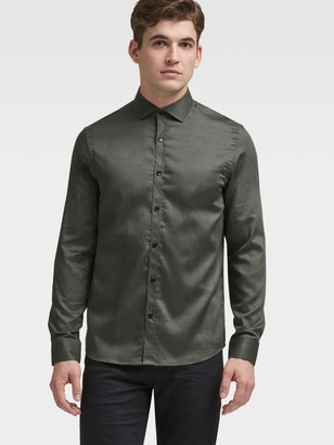 DKNY Men's Swirl Print Button-up Shirt - Army - Size XL