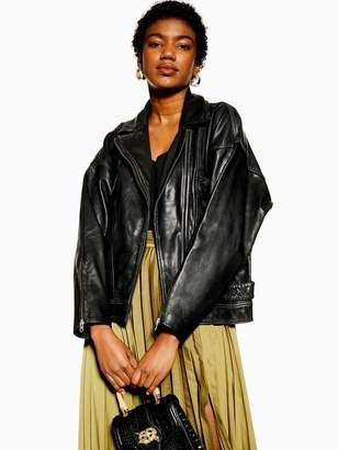 Topshop Oversized Soft Leather Classic Biker Jacket