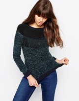 Only Anna Fringe Sweater In Blue