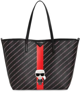 Karl Lagerfeld Paris All Over Logo Faux Leather Tote Bag