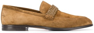 Bally Braided Strap Calf Suede Loafers