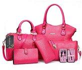 Donaword Women 6 Pcs Eegant Cassic Crocodie PUeather Handbag Tote Shouder Bag Cutch Purse Set Back