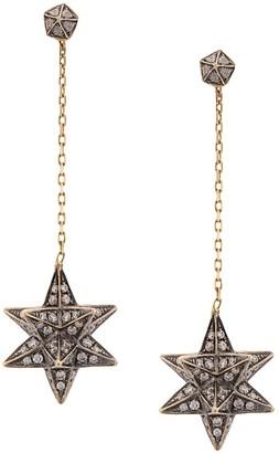 Noor Fares 18kt yellow gold Merkaba diamond drop earrings