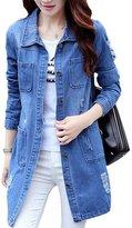 Splendid-Dream jean jacket Splendid-Dream Women's Plus size Denim jacket Long Sleeve denim jacket (XXL)