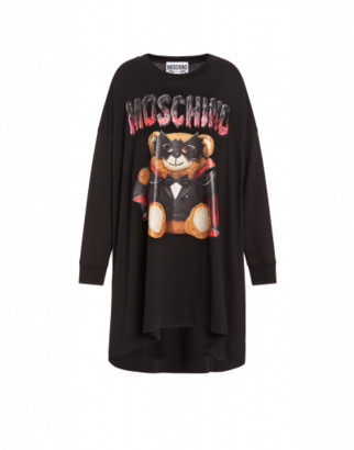 Moschino Bat Teddy Bear Jersey Dress Woman Black Size 36 It - (2 Us)
