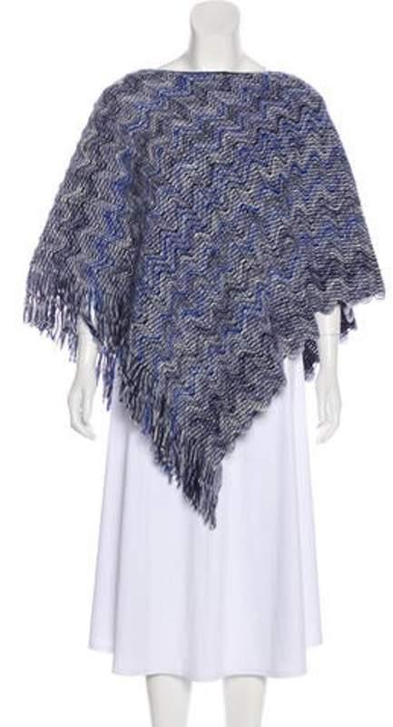 Missoni Fringe-Trimmed Knit Poncho Blue Fringe-Trimmed Knit Poncho