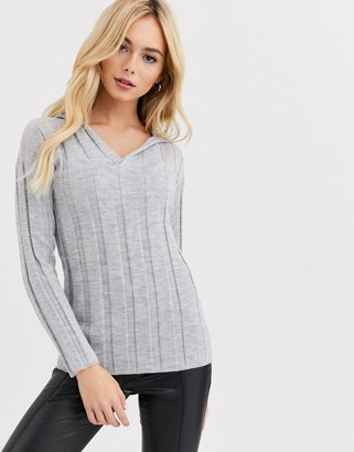 Lipsy lounge knitted top in grey