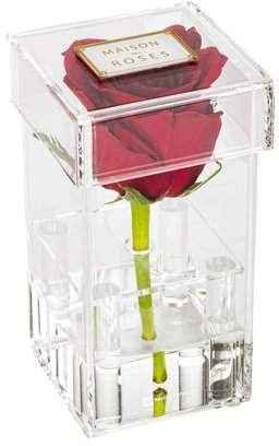 "clear Restaurantware Tek Acrylic Tall Flower Box Vase - 1 hole, with Lid - 3 1/4"" x 3 1/4"" x 6"" - 1 count box"