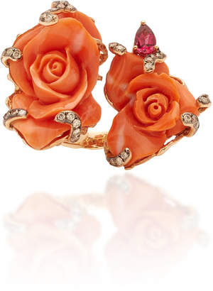 Wendy Yue Fancy Diamond And Coral Ring Size: 6.75