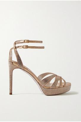 Rene Caovilla Dania Crystal-embellished Satin Platform Sandals - Gold