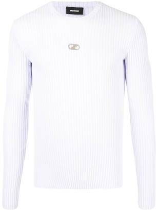 we11done Ribbed-Knit Crew Neck Jumper