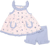 Cutie Pie Baby Pink & Purple Sail Boat Yoke Dress & Shorts - Infant