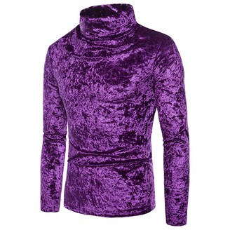 Mikely store Women Turtleneck Sweater Solid Color Eng Soft Roll Neck Long Sleeve Knitted (Purple S)