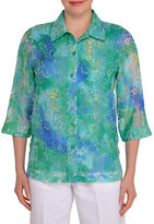 Allison Daley Crush Burnout Scroll-Print Button-Front Blouse