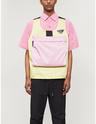 Prada Brand-patch contrast-panel shell gilet