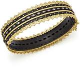 Armenta 18K Yellow Gold and Blackened Sterling Silver Old World Diamond and White Sapphire Scalloped Edge Bangle