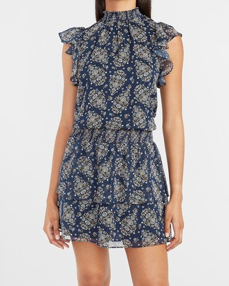 Express Paisley Smocked Waist Flutter Sleeve Mock Neck Dress