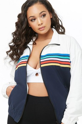 Forever 21 Plus Size Striped-Trim Colorblock Jacket