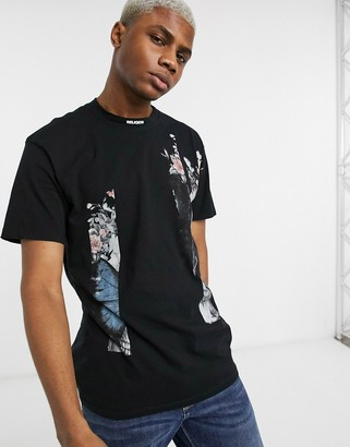 Religion drop shoulder t-shirt with skull floral print in black