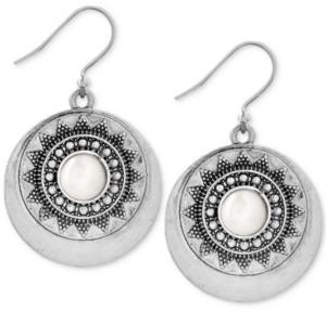 Lucky Brand Silver-Tone Imitation Pearl Star Disc Drop Earrings