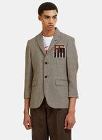Raf Simons Fleeced Motif Herringbone Blazer Jacket in Brown