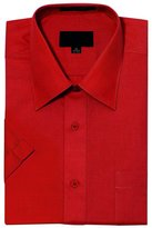 G-Style USA Men's Regular Fit Short Sleeve Solid Color Dress Shirts - XL/17-17.5