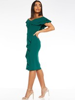 Quiz Scuba Crepe Bardot Double Frill Midi Dress - Green