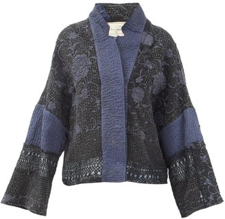 By Walid Cassie Floral-embroidered Silk Jacket - Blue Multi