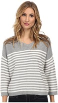 Vince Camuto 3/4 Sleeve V-Neck Striped Sweater